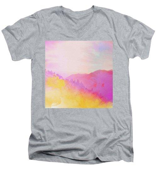 Men's V-Neck T-Shirt featuring the digital art Enchanted Scenery #2 by Klara Acel