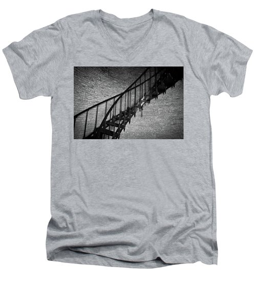 Men's V-Neck T-Shirt featuring the photograph Enchanted Staircase II - Currituck Lighthouse by David Sutton