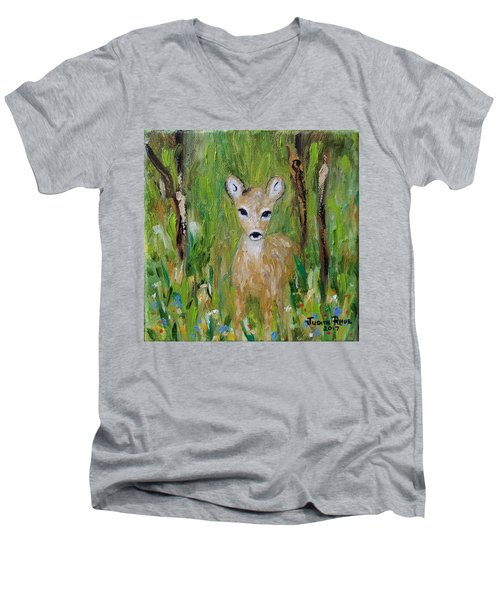 Men's V-Neck T-Shirt featuring the painting Enchantment by Judith Rhue