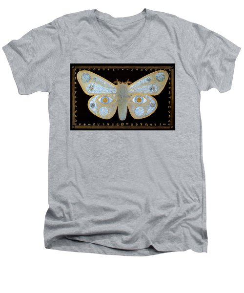 Men's V-Neck T-Shirt featuring the painting Encryption by Laurie Stewart