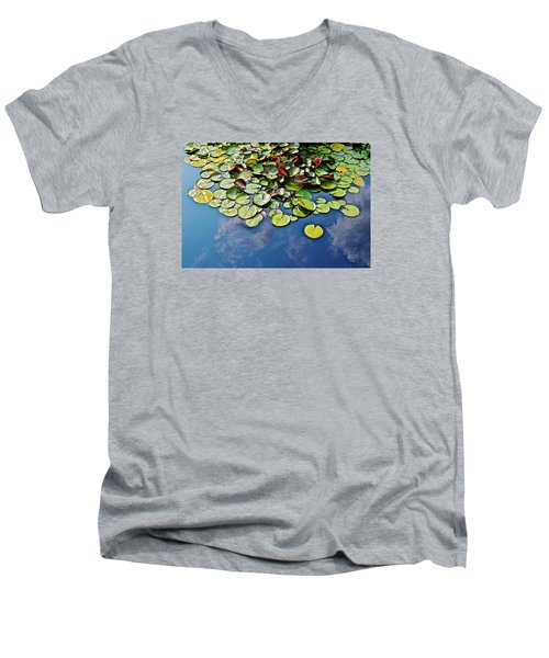End Of July Water Lilies In The Clouds Men's V-Neck T-Shirt by Janis Nussbaum Senungetuk