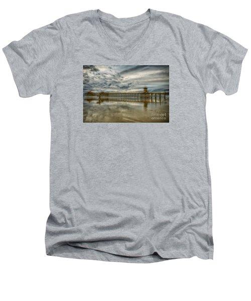 End Of Sunset Surf At Pier Men's V-Neck T-Shirt