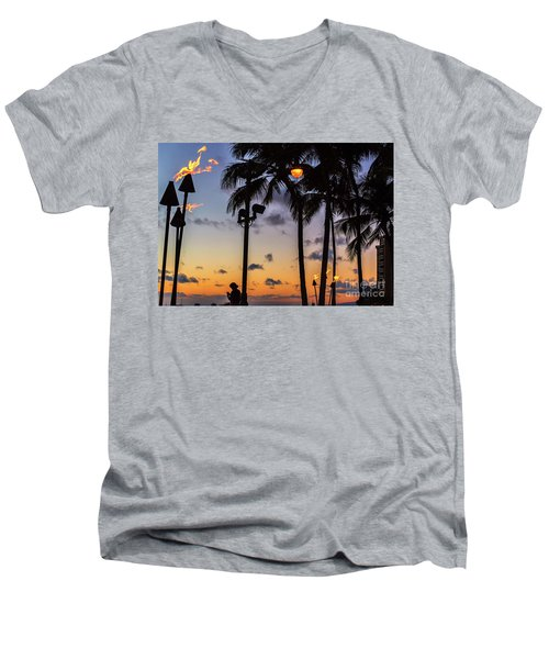 End Of The Beutiful Day.hawaii Men's V-Neck T-Shirt