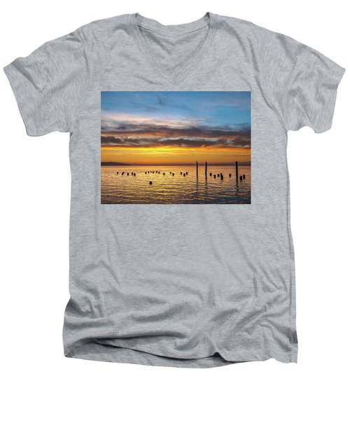 End Of The Day On Humboldt Bay Men's V-Neck T-Shirt by Greg Nyquist