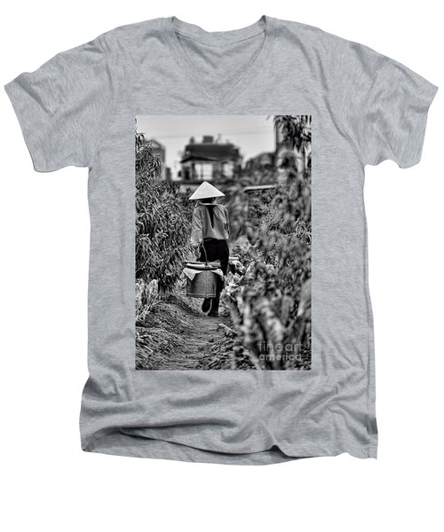 End Of The Day Vietnamese Woman  Men's V-Neck T-Shirt by Chuck Kuhn
