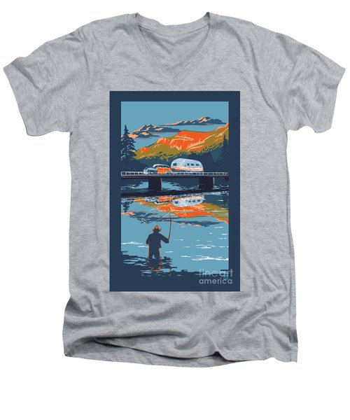 Enderby Cliffs Retro Airstream Men's V-Neck T-Shirt by Sassan Filsoof