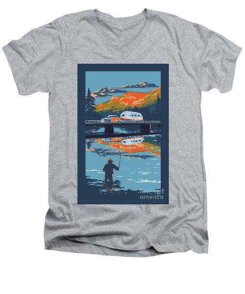 Enderby Cliffs Retro Airstream Men's V-Neck T-Shirt