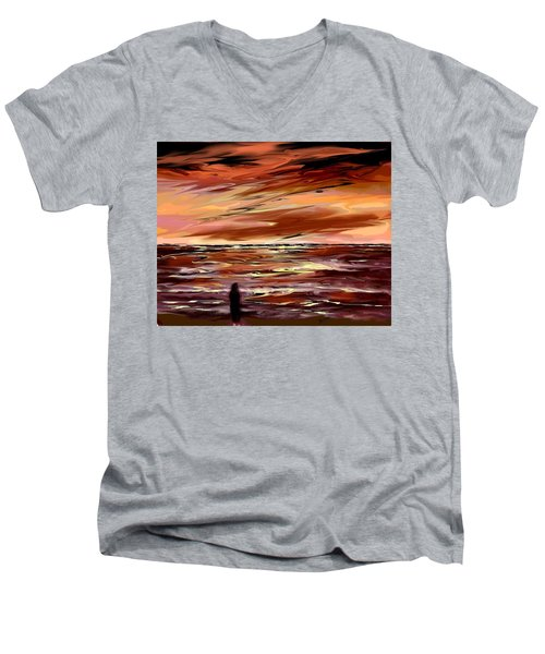 Men's V-Neck T-Shirt featuring the digital art Endless by Desline Vitto