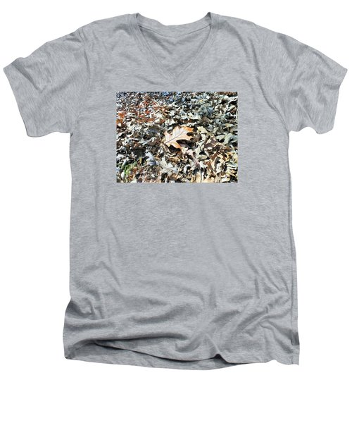Men's V-Neck T-Shirt featuring the photograph Endurance Of A Leaf by Kay Gilley