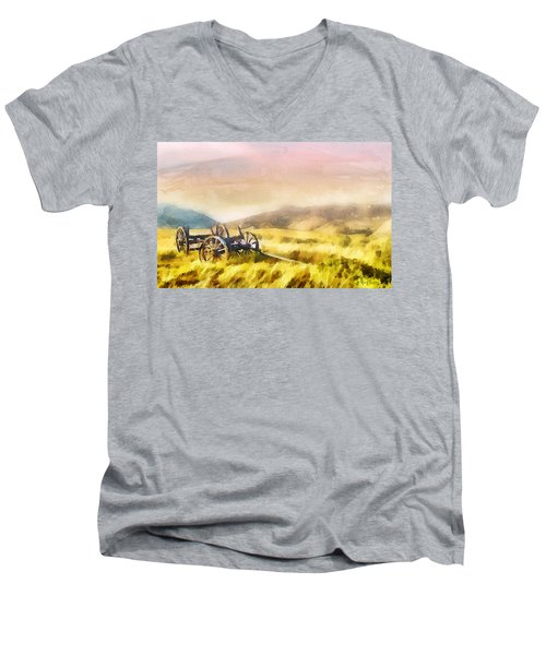 Men's V-Neck T-Shirt featuring the painting Enduring Courage by Greg Collins