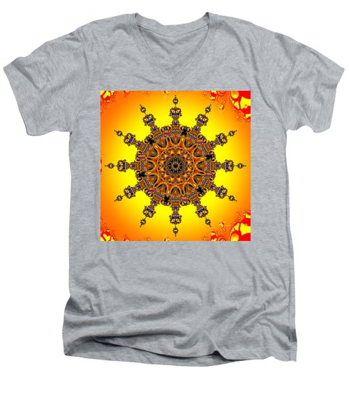Men's V-Neck T-Shirt featuring the digital art Energy Star by Robert Orinski
