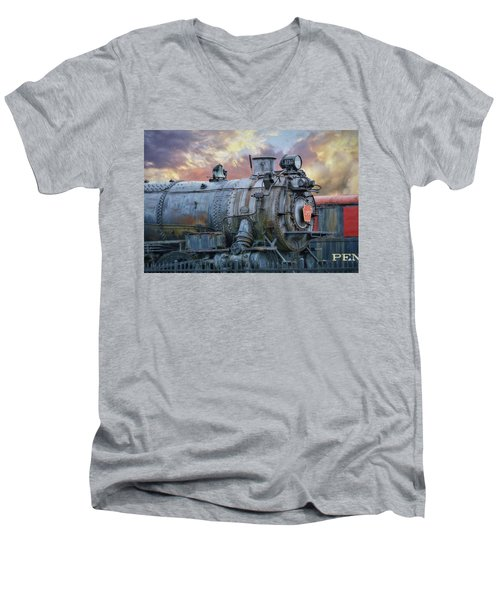 Men's V-Neck T-Shirt featuring the photograph Engine 3750 by Lori Deiter