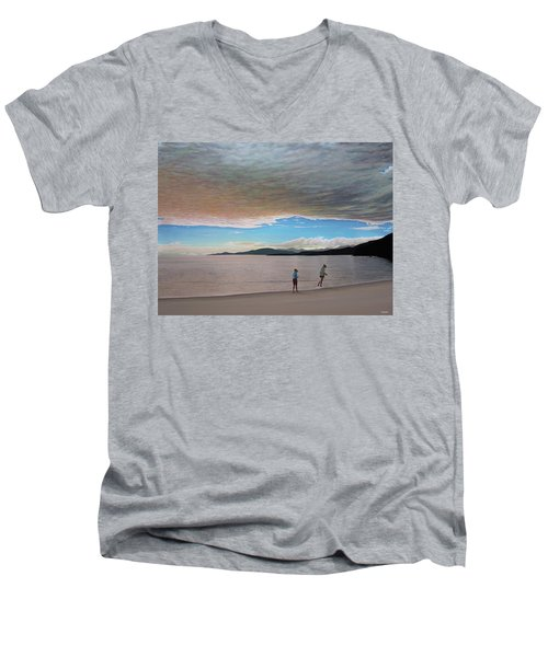 English Bay Vancouver Men's V-Neck T-Shirt by Kenneth M  Kirsch