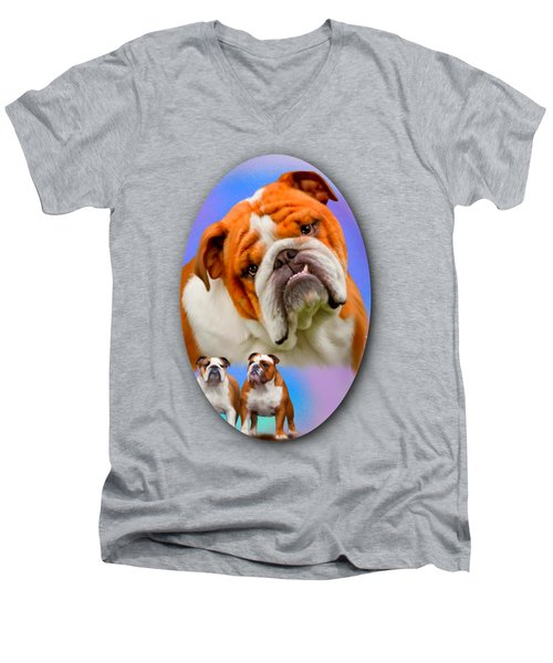English Bulldog- No Border Men's V-Neck T-Shirt