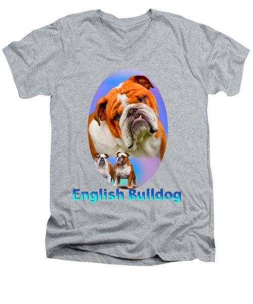English Bulldog With Border Men's V-Neck T-Shirt