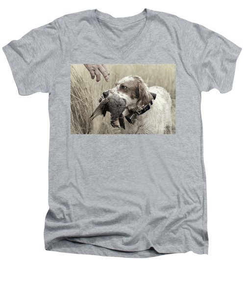 English Setter And Hungarian Partridge - D003092a Men's V-Neck T-Shirt