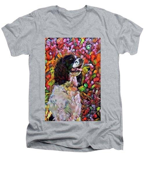English Springer Spaniel In The Garden Men's V-Neck T-Shirt