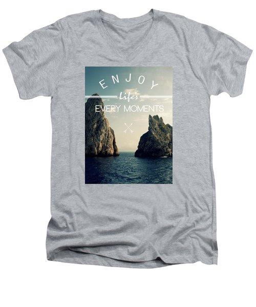 Enjoy Life Every Momens Men's V-Neck T-Shirt by Mark Ashkenazi