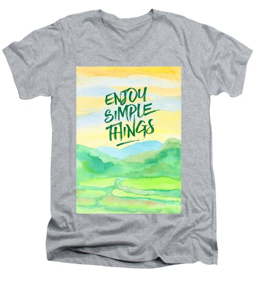 Enjoy Simple Things Rice Paddies Watercolor Painting Men's V-Neck T-Shirt