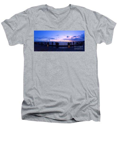 Enjoying The Beautiful Evening Sky Men's V-Neck T-Shirt by Yali Shi