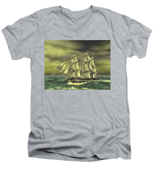 Men's V-Neck T-Shirt featuring the painting Ensuring Liberty by Dave Luebbert