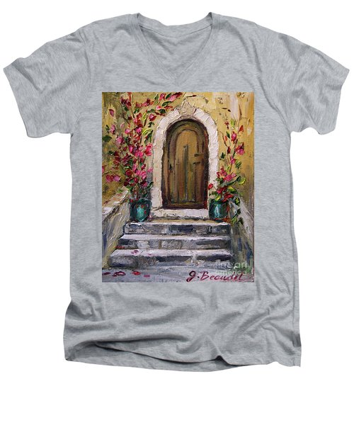 Men's V-Neck T-Shirt featuring the painting Enter Here by Jennifer Beaudet