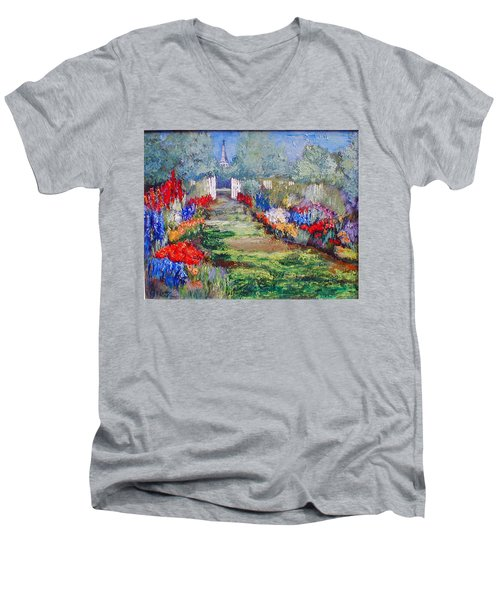 Men's V-Neck T-Shirt featuring the painting Enter His Gates by Gail Kirtz