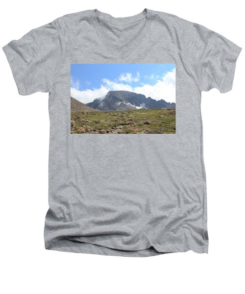 Men's V-Neck T-Shirt featuring the photograph Entering The Boulder Field by Christin Brodie