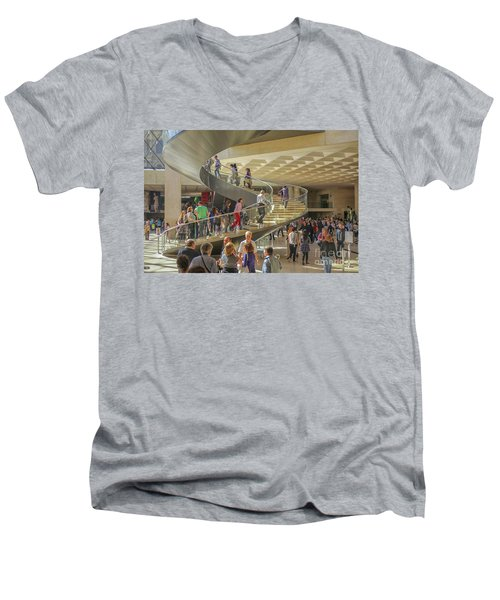 Entry Hall In The Louvre Museum Men's V-Neck T-Shirt
