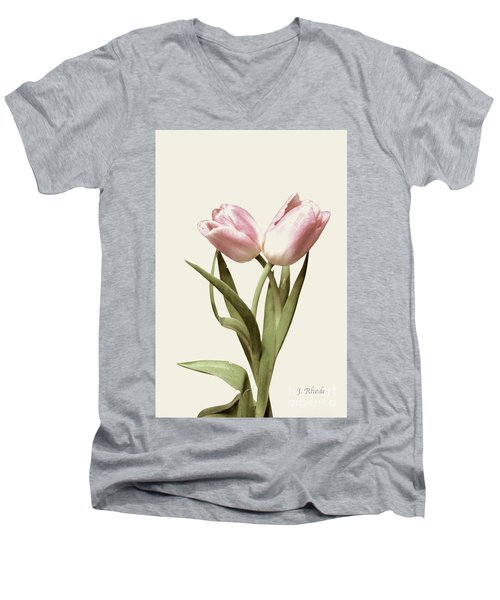 Entwined Tulips Men's V-Neck T-Shirt by Jeannie Rhode