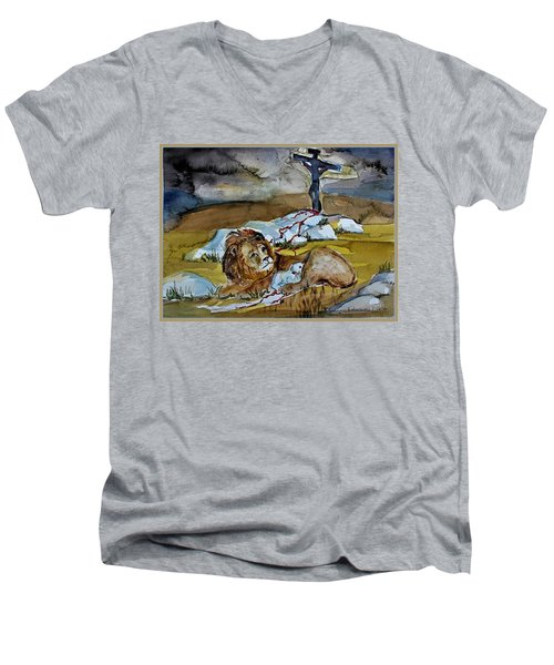 Men's V-Neck T-Shirt featuring the painting Ephesians 2 13 by Mindy Newman