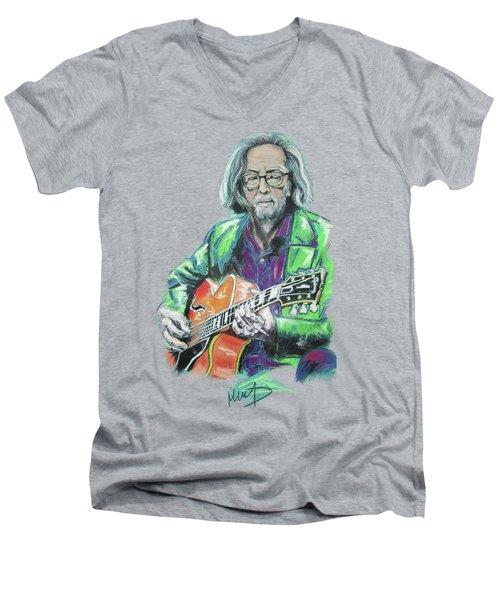 Eric Clapton Men's V-Neck T-Shirt by Melanie D