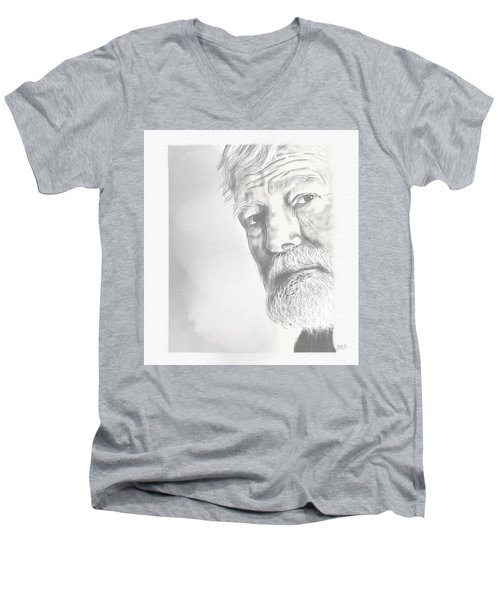 Ernest Hemingway Men's V-Neck T-Shirt by Antonio Romero