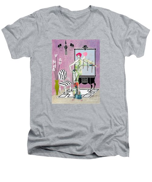 Erte'-esque -- Art Deco Interior W/ Fashion Figure Men's V-Neck T-Shirt