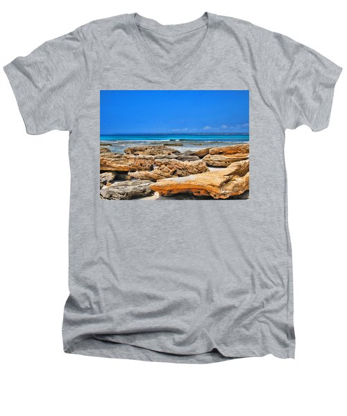 Es Trenc Men's V-Neck T-Shirt by Andreas Thust
