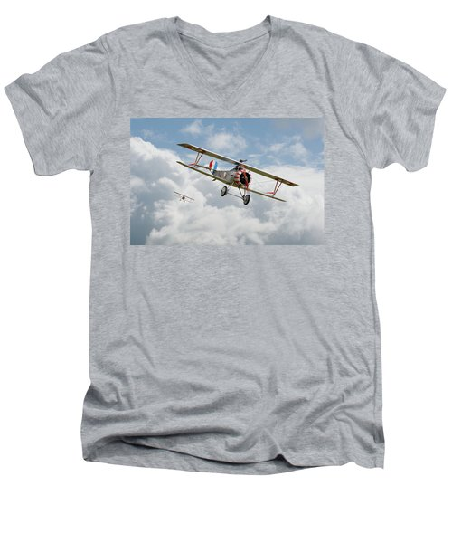 Men's V-Neck T-Shirt featuring the photograph Escadrille Lafayette - Hunters by Pat Speirs
