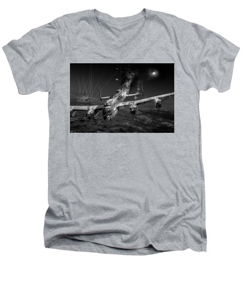 Escape At Mailly Black And White Version Men's V-Neck T-Shirt