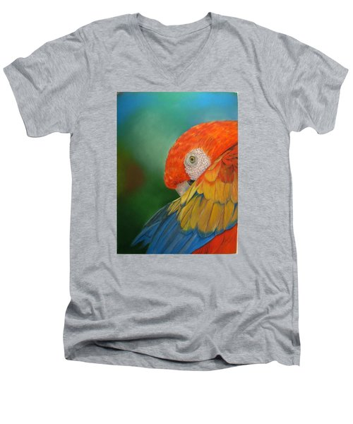Men's V-Neck T-Shirt featuring the painting Escondida by Ceci Watson