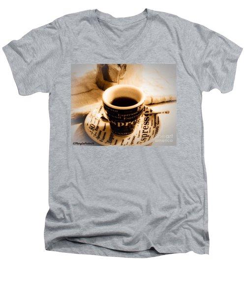 Espresso Anyone Men's V-Neck T-Shirt by MaryLee Parker