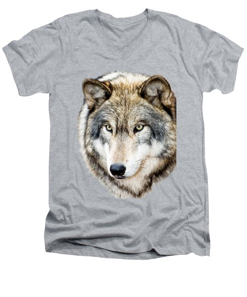 Men's V-Neck T-Shirt featuring the photograph Essence Of Wolf by Gary Slawsky