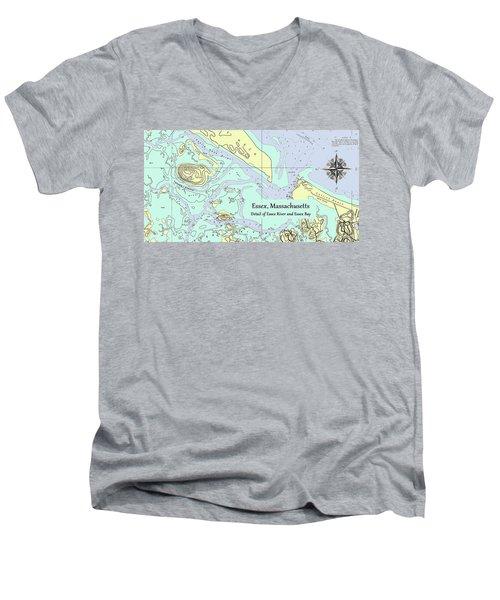 Essex River Detail Men's V-Neck T-Shirt