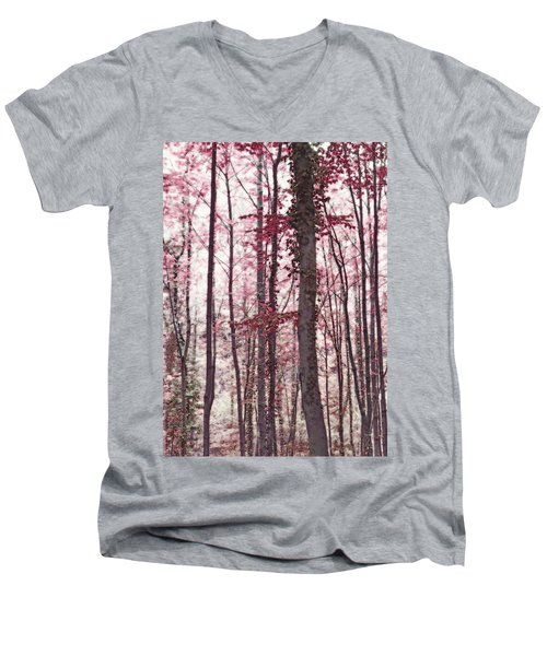 Ethereal Austrian Forest In Marsala Burgundy Wine Men's V-Neck T-Shirt by Brooke T Ryan