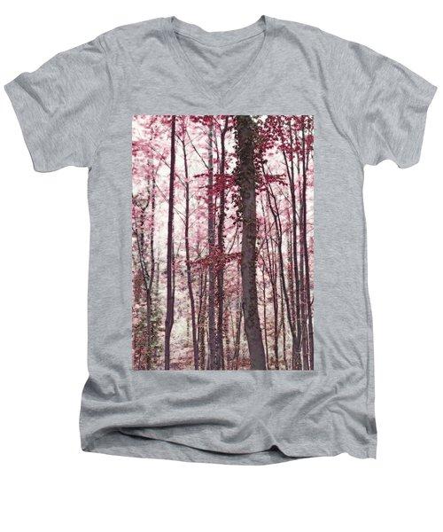 Ethereal Austrian Forest In Marsala Burgundy Wine Men's V-Neck T-Shirt