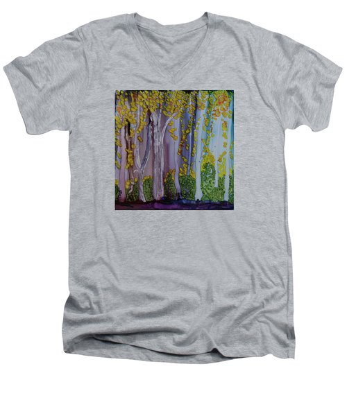 Ethereal Forest Men's V-Neck T-Shirt by Suzanne Canner