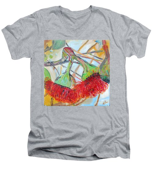Men's V-Neck T-Shirt featuring the painting Eucalyptus Flowers by Reina Resto