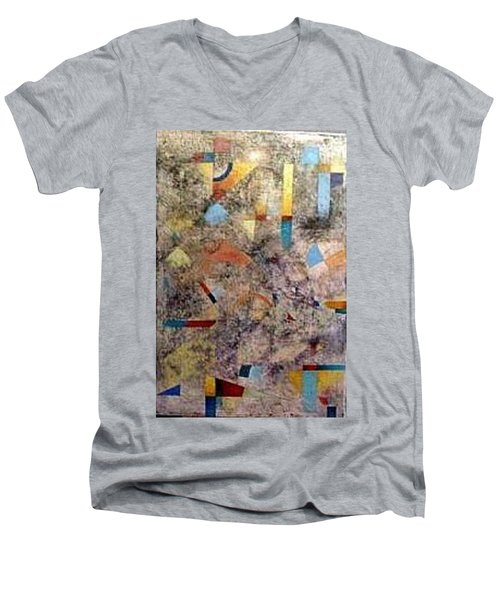 Men's V-Neck T-Shirt featuring the painting Euclidean Perceptions by Bernard Goodman