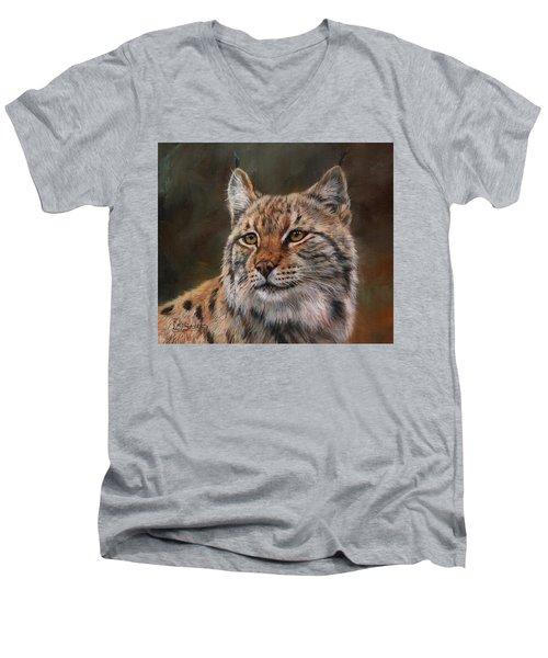 Eurasian Lynx Men's V-Neck T-Shirt by David Stribbling