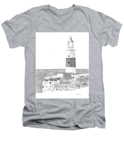 Europa Point Lighthouse Men's V-Neck T-Shirt
