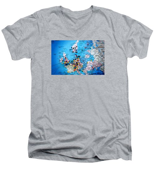 Europe And Russia Map Men's V-Neck T-Shirt by Bob Pardue