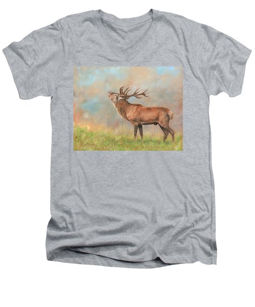 Men's V-Neck T-Shirt featuring the painting European Red Deer by David Stribbling